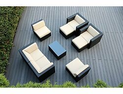 Modern Adjustable 5 Chair Outdoor Patio Wicker Sitting Area Set -Makes Love Seat