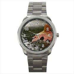 Red Maple In Autumn Sport Flower Stainless Steel Watches