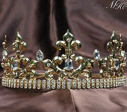 For Men Full Round Crowns Rhinestone Prince Tiaras Pageant Party Art Deco Gold