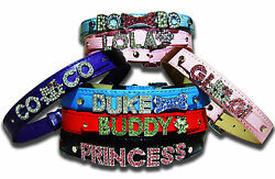 Personalized Dog Collar Free Name amp; Charm 9 color For Medium to Large Dog Bling $14.99