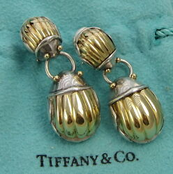 Tiffany & Co Large SCARAB Sterling Silver 18k Yellow Gold Body Clip On Earrings