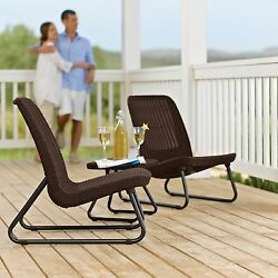3 Piece Rattan Patio Conversation Chair and Table Set Outdoor Furniture Deck NEW