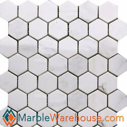 Calacatta Chiara Hexagon Polished Marble Mosaic Tile for backsplash Wall Floor