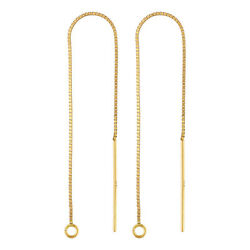 14K Solid Gold Box Chain Threader Earring 1 Pair $64.99