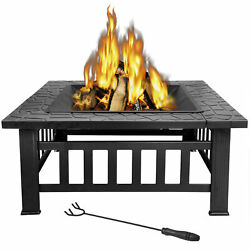 Outdoor 32'' Garden Fire Pit BBQ Square Stove Patio Backyard Heater Fireplace