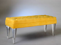 NEW! MADE TO ORDER ULTRA MODERN SALSA BENCH W TAPERED ACRYLIC LEGS