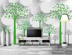 3D White circle green trees  Wall Paper Wall Print Decal Wall Deco AJ WALLPAPER