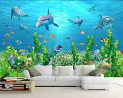 3D White sailing dolphins tree Wall Paper Wall Print Decal Wall DecoAJ WALLPAPER