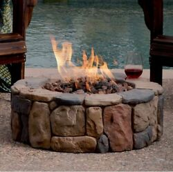 Outdoor Modern Fire Pit Small Round Stone Ring Propane Gas for Decks Patio Yard
