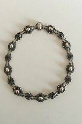 Georg Jensen Sterling Silver Necklace with Stones and Silver Stones No 419