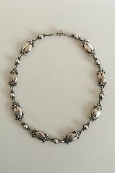 Georg Jensen Sterling Silver Necklace No 15 with Silver Stones
