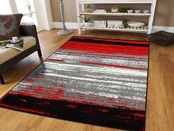 Large Grey Modern Rugs For Living Room 8x10 Abstract Area Rug Red Black Gray 5x7 $89.94