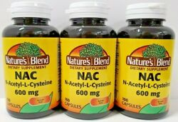 Nature#x27;s Blend NAC N Acetyl L Cysteine 600 mg Supplement 100ct Capsules 3 Pack $31.99