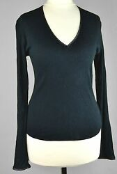 JOSEPH 1 SMALL CASHMERE Black Thin JUMPER White Thread V Neck Neckline Top Knit