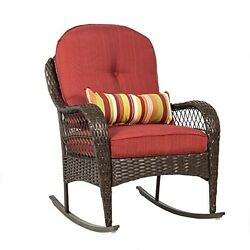 Wicker Patio Rocking Chair Outdoor Porch Deck Pool Party Rattan With Cushions