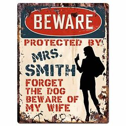 PPBW 0001 Beware Protected by MRS. SMITH Rustic Chic Sign Funny Gift Ideas $19.95