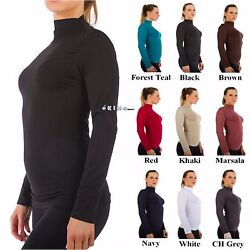 Women Mock Neck Long Sleeve Shirt Turtleneck Top Stretch Slim Fit Tee Shirt $6.50