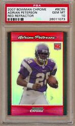 2007 BOWMAN CHROME RED REFRACTORS ADRIAN PETERSON RC 45 PSA 10!! POP 1