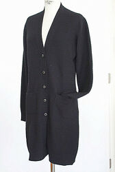 CHANEL 08A Sweater Long Black Cashmere Cardigan Rich Knit  42  8