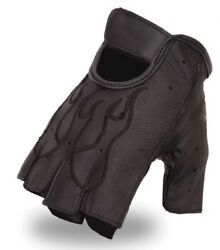 First Manufacturing Mens Fingerless Leather Gloves Embroidered Flame FI166GEL $9.95