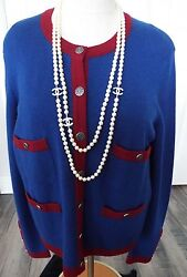 Chanel 100% Cashmere Navy Blue and Red Trim Cardigan Sweater