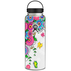 Skin Decal for Hydro Flask 40 oz Wide Mouth  Flowers Colorful Design