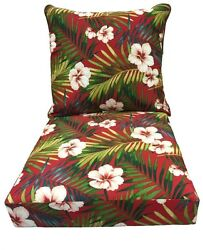 Red Floral Pattern Fabric Reversible Replacement Cushion For Outdoor Patio Chair