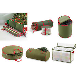 Christmas Holiday Storage Real Simple Gift Wrapping Paper Wreath Ornament Tree