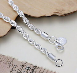 925 Sterling Silver plating Fashion Jewelry 4MM Twisted Link Chain Bracelets New