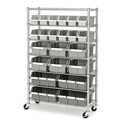 Industrial Storage Shelving Rack Bins Containers Commercial System Garage