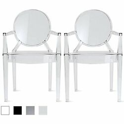 2xhome - Set of Two 2 - Clear - Modern Ghost Chair Arm Polycarbonate Plastic