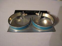 NWT Apt. 9 Open Hoop Blue with Gold Tone Edge Pierced Earrings FREE S