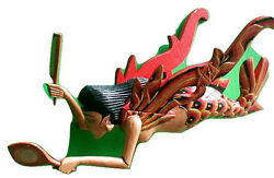 Dewi Sri Rice Goddess Mermaid Flying Hanging Lady Wood CM 15quot; RED new style $74.50
