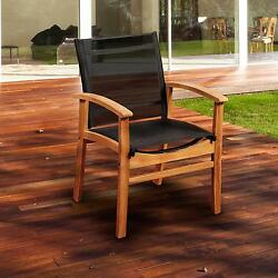 Amazonia Fortuna Sling Patio Dining Arm Chair With Teak Frame - Black
