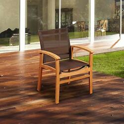 Amazonia Fortuna Sling Patio Dining Arm Chair With Teak Frame - Brown