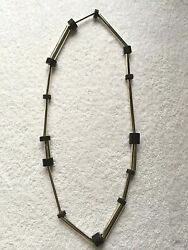 BETTY COOKE MODERNIST SILVER & WOOD LINKS NECKLACE - RARE - ONE OF A KIND !!!
