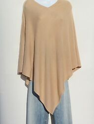 100% Cashmere Knit Poncho Tibetan Yarn Hand Loomed Solid: Tan 1 Size