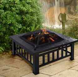 Modern Outdoor Fireplace Square Metal 32