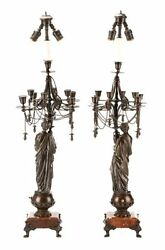 Antique Lamps Candelabrum Pair of French Neoclassical Bronze Lamps Gorgeous $2336.29