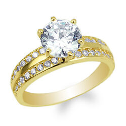 Ladies Yellow Gold Plated Round CZ Cross Engagement Solitaire Ring Size 4-10