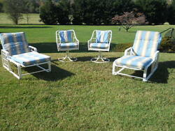 Palm Beach Patio  Pool Matching Set of 2 Chaises 2 Swivel Chairs