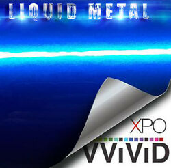 VViViD Liquid Metal Blue vinyl wrap High Gloss film decal sheet u choose length