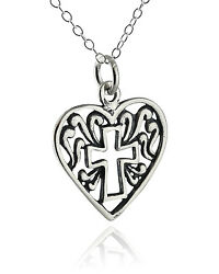 Cross in Heart Necklace 925 Sterling Silver Pendant Faith Christian Love NEW $18.00