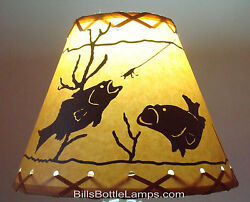 FISH Table Light Cabin Cottage LAMP SHADE Clip On Bulb Style 9quot; inch Laced Cone $25.99
