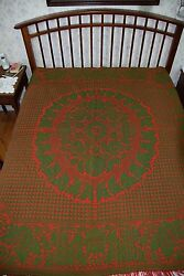 Antique CIRCA 1860 2-Sided PA Wool Jacquard Coverlet 78