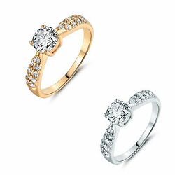 18k gold filled Round white Topaz wedding Solitaire with Accents rings Sz5-Sz8.5