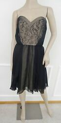 Nwt ABS Allen Schwarts Strapless Cocktail Chiffon Overlay Dress Sz 10 Black $295 $98.95