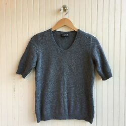 Jones New York 100% Cashmere Sweater Short Sleeve Metalic Silver Thread Size ML