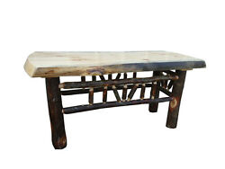 Rustic Pine and Hickory Log Natural Edge Bench Coffee Table - Multiple Sizes