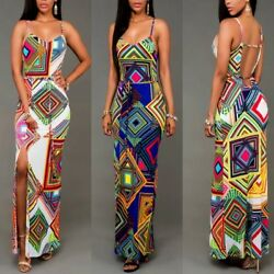 Sexy Multi-Color Summer Beach Slim Long Front Slit Maxi Dresses Tank Top BD189